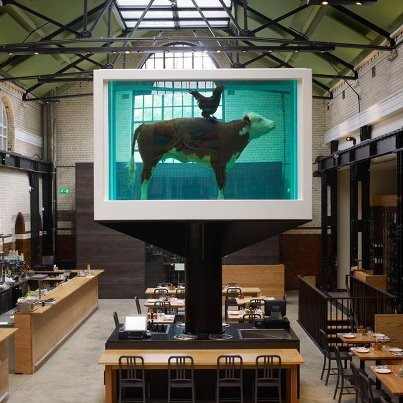 Damien-Hirst's-Cock-and-Bull-at-Tramshed-Restaurant-London