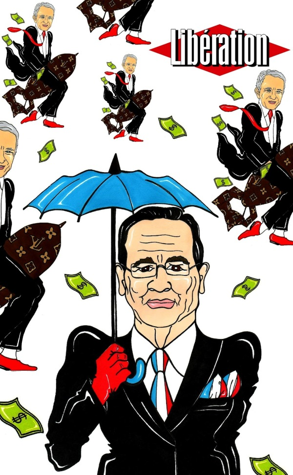 Luxury and Tax French President Francois Hollande and Bernard Arnault LIBERATION Humor Chic by aleXsandro Palombo