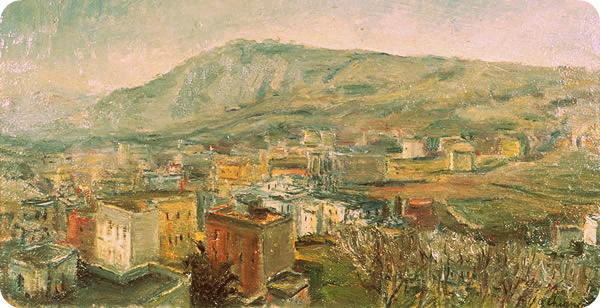 Paesaggio di Napoli con collina dei Camaldoli, anni trenta, olio, Napoli, collezione privata