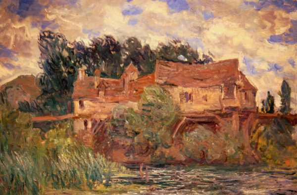 Art_at_the_New_Orleans_Museum_of_Art_-_Houses_on_the_Old_Bridge_at_Vernon_circa_1883_by_Monet