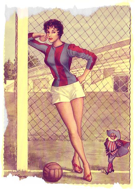 1949-50+Cartolina+_Ed+Saemec_+Pin-Up+e+simbolo+Bologna+FC- tuttacronaca
