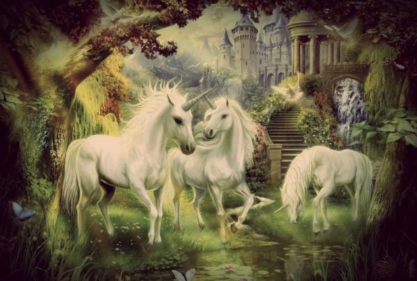 Thomas-Kinkade-Original-oil-painting-unicorn-fantasy-Art-print-reproduction-on-canvas-wall-decor