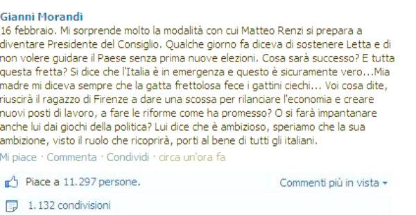 GIANNI-MORANDI-MATTEO-RENZI-tuttacronaca