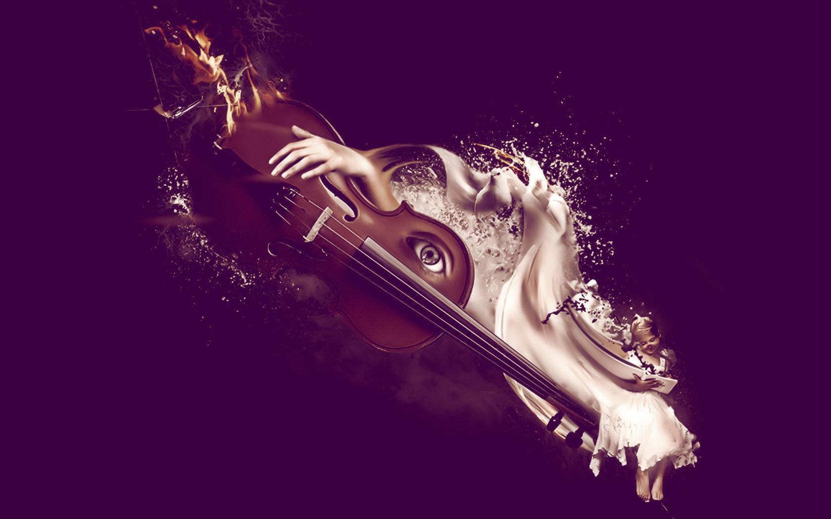 Девушка со скрипкой абстракция  № 2052276 загрузить